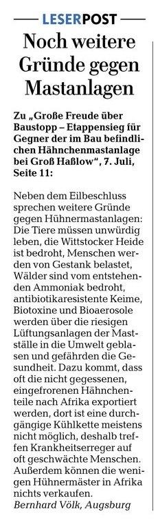 Leserbrief von Bernhard Völk aus Agsburg